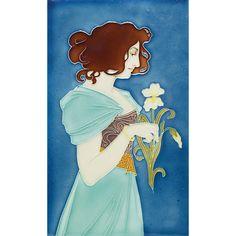 Good German Art Nouveau tile, colorful portrait of a woman holding an iris