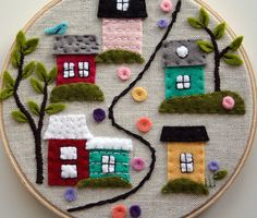 Cute Village Embroidery with Felt