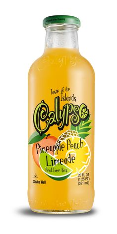 """Calypso Pineapple Peach Limeade - Just like with their Lemonades, Calypso wanted to carry the """"Taste of the Islands"""" feeling into their Limeades. What better way to do this than to use the most recognized tropical fruit, pineapple! Flavored Lemonade, Green Punch, Summertime Drinks, Sports Drink, Thing 1, Punch Recipes, Savory Snacks, Natural Flavors, Yummy Drinks"""