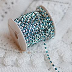 3 Feet Turquoise Blue Australia Rhinestone Chain Crystal Silver Teal Peacock Blue SS12 Wedding Cake Bouquet Decoration RC079