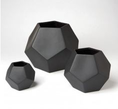 Faceted Vase - Black