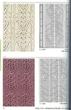Lace & Cables knitting patterns ~~ http://blog.trud.ru/users/smokovnica67/post353214465/