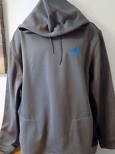 ADIDAS-MENS-PERFORMANCE-HOODIE-LONG-SLEEVE-SIZE-XL-GRAY-WITH-BLUE-CLIMAWARM