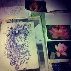 60 Ideas For Tattoo Watercolor Lion Flower Trendy Tattoos, Love Tattoos, New Tattoos, I Tattoo, Tatoos, Lotus Tattoo, Badass Tattoos, Popular Tattoos, Watercolor Lion