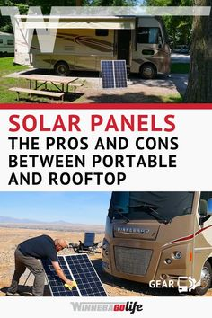 Solar Panels: The Pros and Cons Between Portable and Rooftop. I'm sure you've heard the hype about solar power and how much people living the rv lifestyle are loving it. Here we give you an intro of w Rv Solar Panels, Portable Solar Panels, Solar Energy Panels, Solar Panel Installation, Portable Solar Power, Solar Energy System, Solar Roof, Solar Projects, Engineering Projects