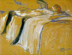 Alone (Elles) by Henri de Toulouse-Lautrec    Born: 24 November 1864; Albi, Tarn, France  Died: 09 September 1901; Château Malromé, France  Date: 1896  Style: Art Nouveau (Modern) ( Study ) Location: Musée d'Orsay, Paris, France