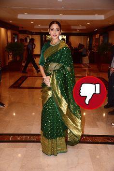 ANUSHKA SHARMA- BUMMER-Anushka's saree is unimpressive and the overall look doesn't complement the actress too well. Rekha Saree, Bollywood Saree, Bollywood Wedding, Saree Wedding, Bollywood Actress, Chanderi Silk Saree, Soft Silk Sarees, Cotton Saree, Designer Party Wear Dresses