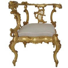 Italian Rococo Style Hand Carved Corner Chair | From a unique collection of antique and modern corner chairs at http://www.1stdibs.com/furniture/seating/corner-chairs/