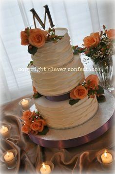 Peach Roses, Berries and Fondant Wrap Wedding Cake