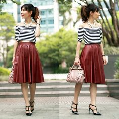 Prisca E. - Sheinside Off Shoulder Black & White Stripes Crop Top, Sheinside Burgundy Faux Leather Midi Skirt, H&M Pearls Necklace - Fall Transition