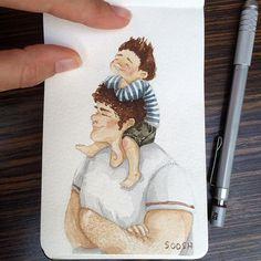 • the tallest of all fathers • . .  #bysoosh #illustrator #illustration #boy #drawing #sketch #sketching #sketcheveryday #watercolor #watercolorsketch #watercolordrawing #big #papa #fantasy #boho #cute #father #book #inspiring_watercolors #love #art_we_inspire #inspiration #padre #kids #children #dibujo #art #artwork #365 #primitive