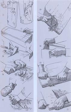 Fremstilling af et trug – Eine Mulde wird gehauen – Making a trough