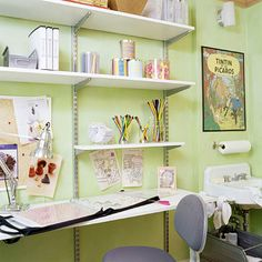 A 5-foot-long desktop provides plenty of surface space to spread out multiple projects and lay scrapbooks and photo albums flat. An adjustable chair allows both parents and children to work comfortably. If your child is a scrapbooker, consider placing a cutting mat at one end of the desk to protect the top from scratches and dings./