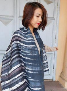 Thai Cotton Silk Art - Gray Spires