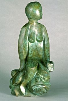 Bronze sculpture by artist Mark Yale Harris titled: 'The Princess and the Fish'