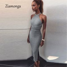 693a485937af1 US $11.8 10% OFF|Ziamonga Halter Backless Cross Bandage Dress Sexy Off  Shoulder Split Bodycon Knitted Dress Autumn Sleeveless Slim Women Dresses-in  Dresses ...