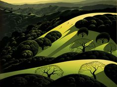 """Santa Ynez"" by Eyvind Earle.  Completion Date: 1985.  Place of Creation: United States.  Style: Magic Realism."