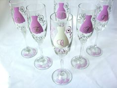 Bride and Bridesmaids champagne glasses, Personalized Maid of honor and Bride flutes.  Choose your own quantity
