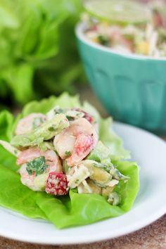 Shrimp Coconut Lettuce Wraps - has avocado, strawberries, mago and lots more...sound intneresting!