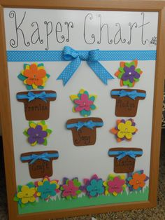 Girl Scout Daisy Kaper Chart, make little flower pots with daisy flower jobs, ass the busy little bee scouts to the flowers to see who gets what chore :)