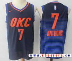 c0080d73e9d Men's Oklahoma City Thunder #7 Carmelo Anthony Navy Blue Pinstirpe  2017-2018 Nike Swingman Stitched NBA Jersey