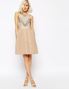 River Island Pearl Embellished Top Skater Prom Party Dress NUDE UK 12-EU 38-US 8