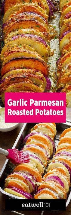 These crisp tender potatoes smothered in melted butter, garlic, Parmesan cheese and seasoned with fragrant herbs take the best of two worlds: Sweet and yellow potatoes.