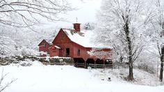 Red Barn at Christmas, Keene, New Hampshire