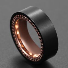 KING WILL EDGE™ MEN'S RING IN BLACK AND ROSE GOLD