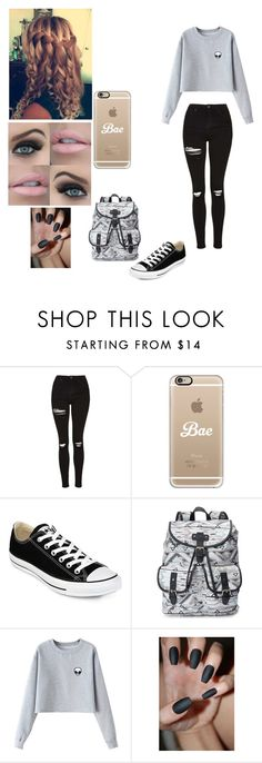 """""""School Day w/Nate Maloley"""" by mell-rosee ❤ liked on Polyvore featuring Anastasia Beverly Hills, Topshop, Casetify, Converse, Candie's and Chicnova Fashion"""
