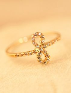 Flying Bowknot Crystal Alloy Rose Gold Plated Women Ring
