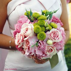 Shades of pink with touches of bright green