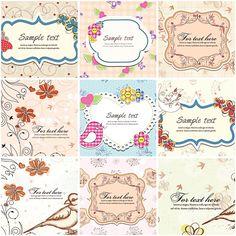 Vintage spring pastel frames invitation set vector