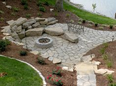 Fire pit with rocks for seating & bank containment