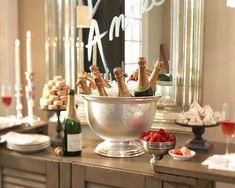 NYE. --- champagne bar with strawberries, sugar cubes, etc