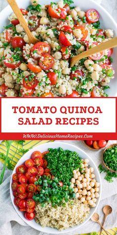 Tomato Quinoa Salad Recipes Tomaten Quinoa Salat Rezepte - One pot rezepte Quinoa Salad Recipes, Summer Salad Recipes, Salad Recipes For Dinner, Summer Salads, Spring Recipes, Salad With Quinoa, Quinoa Chickpea Salad, Garbanzo Bean Recipes, Spinach Salad Recipes