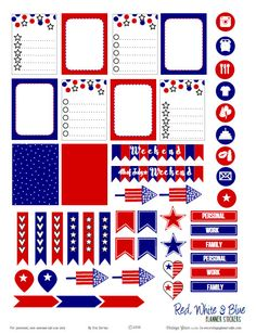 Free printable download of patriotic planner stickers suitable for vertical weekly planners as well as other types of papercrafts. Free for personal use only.