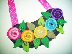 Fabulous Felt Rainbow Roses Necklace by TheToteTrove on Etsy