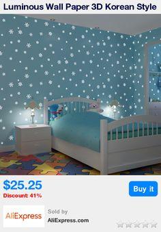 Luminous Wall Paper 3D Korean Style Romantic Snowflake Fluorescent Wallpaper Non-woven Kids Room Girls Bedroom Ceiling Wallpaper * Pub Date: 03:18 May 20 2017