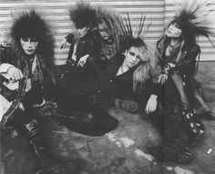 "madamcrimson: "" old X spiky Yoshiki, angry-looking hide, Toshi with brush on his head, lion-head Taiji and uncommonly visual Pata ♥ "" Japan Picture, I Luv U, Great Pictures, Visual Kei, Heavy Metal, Nostalgia, Japanese, Black And White, Artist"
