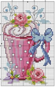 This Pin was discovered by Eli Cross Stitch Kitchen, Cross Stitch Love, Cross Stitch Flowers, Cross Stitch Charts, Cross Stitch Designs, Cross Stitch Patterns, Cross Stitching, Cross Stitch Embroidery, Embroidery Patterns