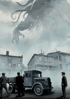 Cool Art: H. Lovecraft's Cthulhu -- the reason I am around as an auhtor. Hp Lovecraft, Lovecraft Cthulhu, Cthulhu Art, Call Of Cthulhu, Arte Horror, Horror Art, Dark Fantasy, Fantasy Art, Le Kraken