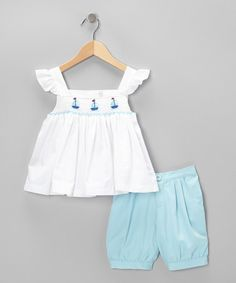 Another great find on #zulily! White Smocked Sailboat Top & Shorts - Infant, Toddler & Girls #zulilyfinds