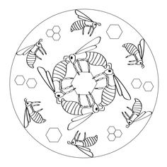 Bee Mandala with honeycomb cells for kids to print and color from www.kigaportal.com