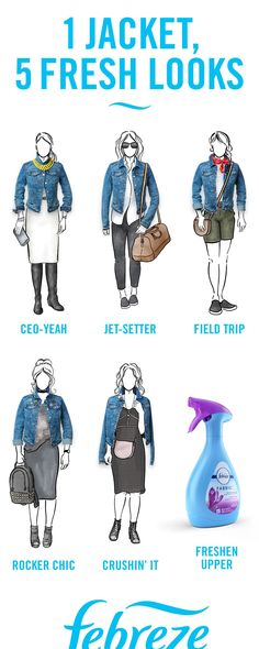 Vintage Fashion Tips Heres how to wear your favorite denim jacket all the time: From day trips to date night, here are 5 easy looks to dress your jean jacket up or downand stay fresh in-between wears with Febreze Fabric Refresher. Look Fashion, Winter Fashion, Fashion Outfits, Womens Fashion, Fashion Tips, Fashion Clothes, Fall Outfits, Casual Outfits, Cute Outfits