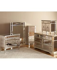 Marais Bedroom Furniture Sets & Pieces, Mirrored - Mirrored Furniture - furniture - Macy's My dream bedroom set. Dresser With Mirror, Bedroom Sets, Mirrored Furniture, Interior, Home Furniture, Bedroom Mirror, Mirrored Bedroom Furniture, Furniture Collection, Furniture Sets