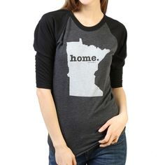The Minnesota Home Baseball T (3/4 length sleeve) is insanely soft, a great way to show off your state pride, and helps to raise money for multiple sclerosis research.The Home T products are 100% Made in the USA. We use a special screen printing technique to give the shirts a vintage look and feel.This shirt is great for a variety of weather conditions, but more importantly, you will absolutely love how comfortable it is. The quality is amazing.