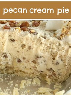 Pecan pie just like the original but in a creamy, light, and fluffy pecan cream pie. Pie crust filled with a thick & creamy pecan mixture. This whipped cream pie is a delicious Fall twist Pecan Desserts, No Bake Desserts, Easy Desserts, Delicious Desserts, Yummy Food, Pecan Pies, Christmas Desserts, Healthy Desserts, Pecan Cream Pie Recipe