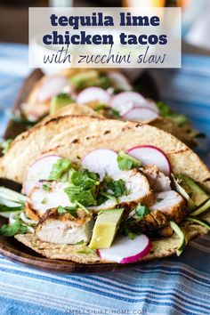 Take your tacos to a new level with this tequila lime-marinated chicken and a zippy fresh zucchini slaw! Tequila Lime Chicken, Lime Chicken Tacos, Grilled Chicken Tacos, Marinated Chicken, Baked Chicken, Dinner Recipes Easy Quick, Easy Chicken Recipes, Cod Recipes, Noodle Recipes