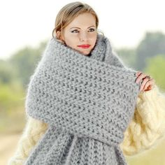100% Hand knitted mohair scarf in grey, one size